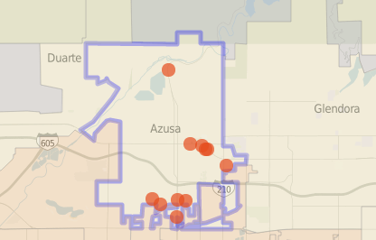The map shows homicides reported in Azusa since 2007.