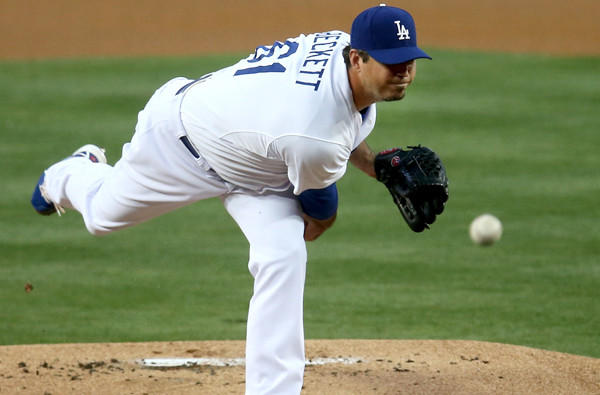 Dodgers starting pitcher Josh Beckett only lasted four inning against the Detroit Tigers on Wednesday night, when he gave up five hits and five runs, four earned.