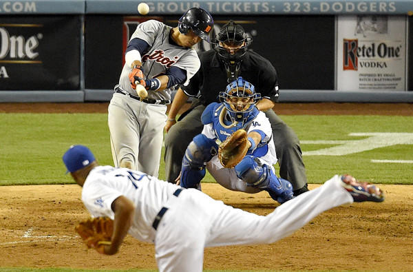 The Tigers' Victor Martinez hits a solo home run off Dodgers reliever Kenley Jansen in the 10th inning at Dodger Stadium.