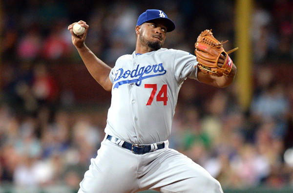 Dodgers pitcher Kenley Jansen has appeared in six games this season, earning two saves with a 3.60 earned-run average.