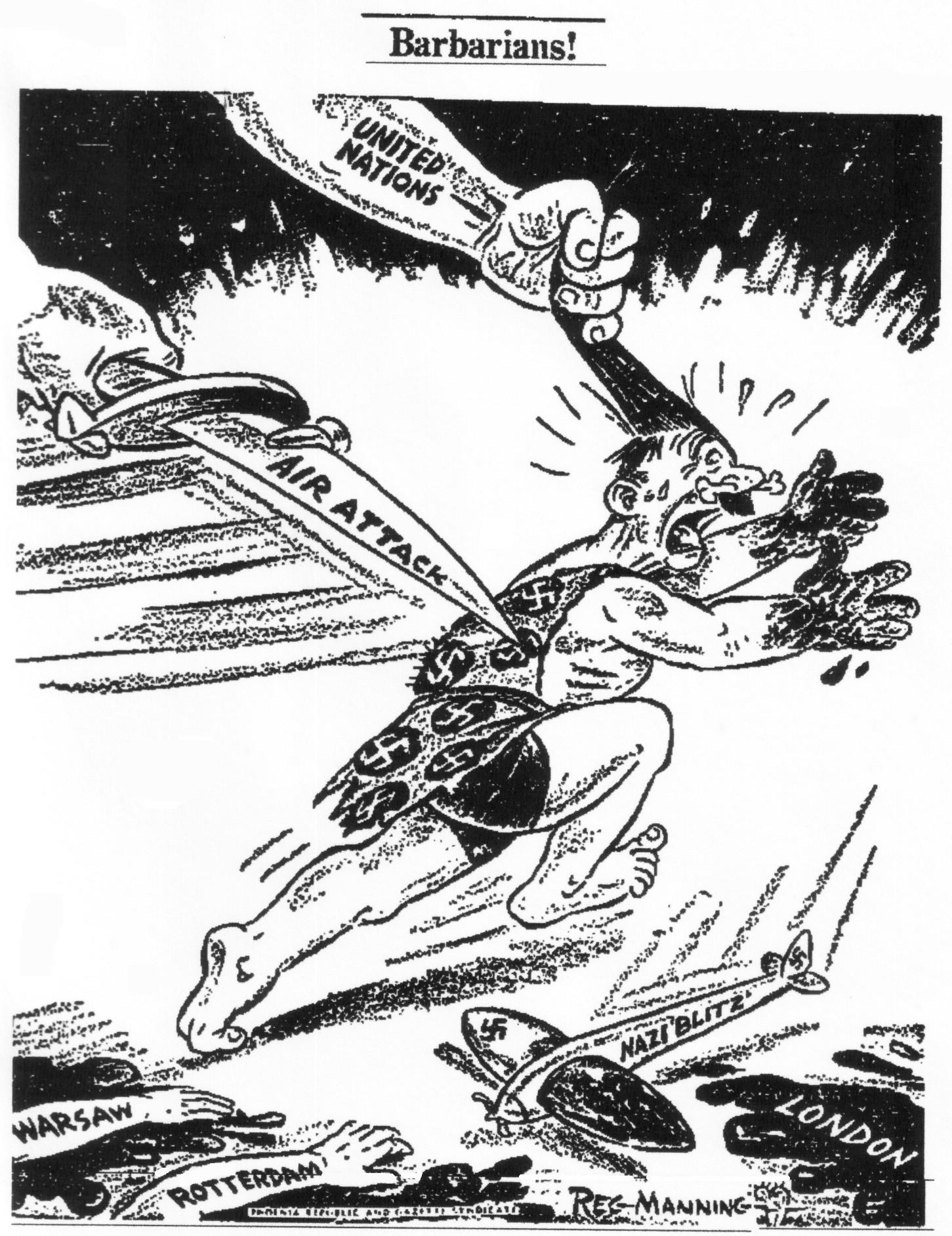 """1943: The United States and Great Britain agreed on a combined bomber offensive against Nazi Germany. In this cartoon, days after German dictator Adolf Hitler's 54th birthday, he is depicted as a frightened cave man with bloody hands, fleeing allied air power as a German plane, labeled """"Nazi blitz,"""" goes down. The """"United Nations"""" refers to America and Britain, not the multinational body created after the war."""