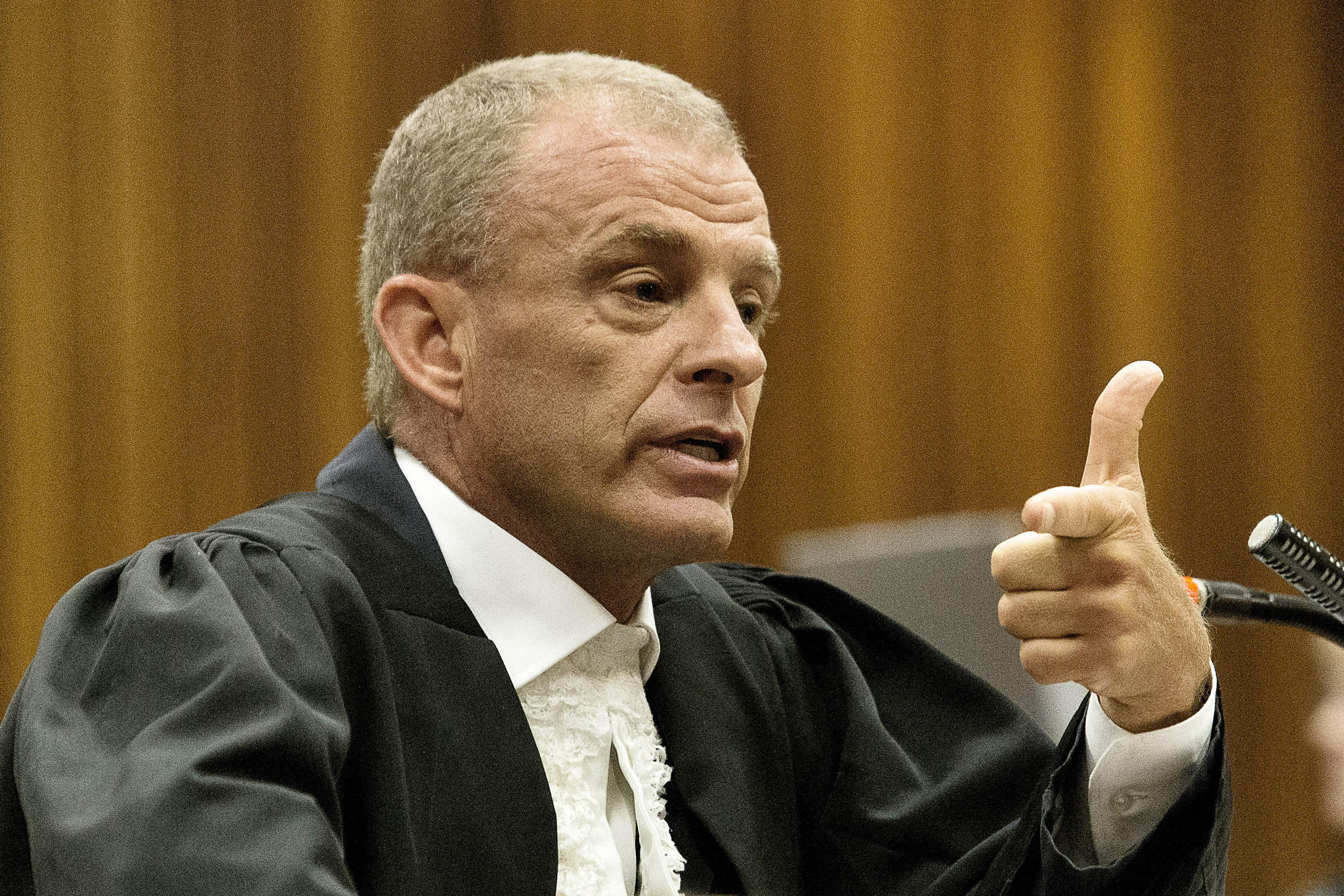 State prosecutor Gerrie Nel gestures while questioning Oscar Pistorius in a Pretoria, South Africa, courtroom on Thursday.