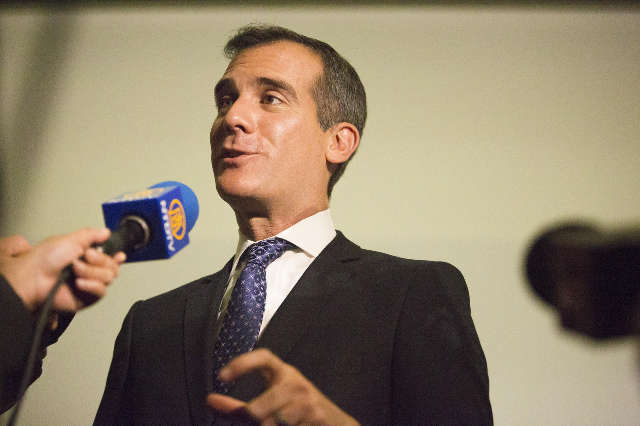 Los Angeles Mayor Eric Garcetti, shown at a news conference in January, is set to deliver his first State of the City speech late Thursday afternoon.