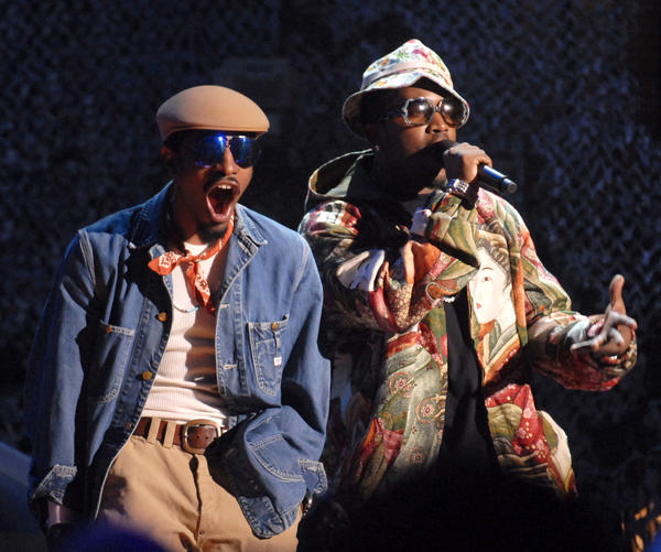 "Andre ""3000"" Benjamin, left, and Antwan ""Big Boi"" Patton of Outkast perform in 2006."