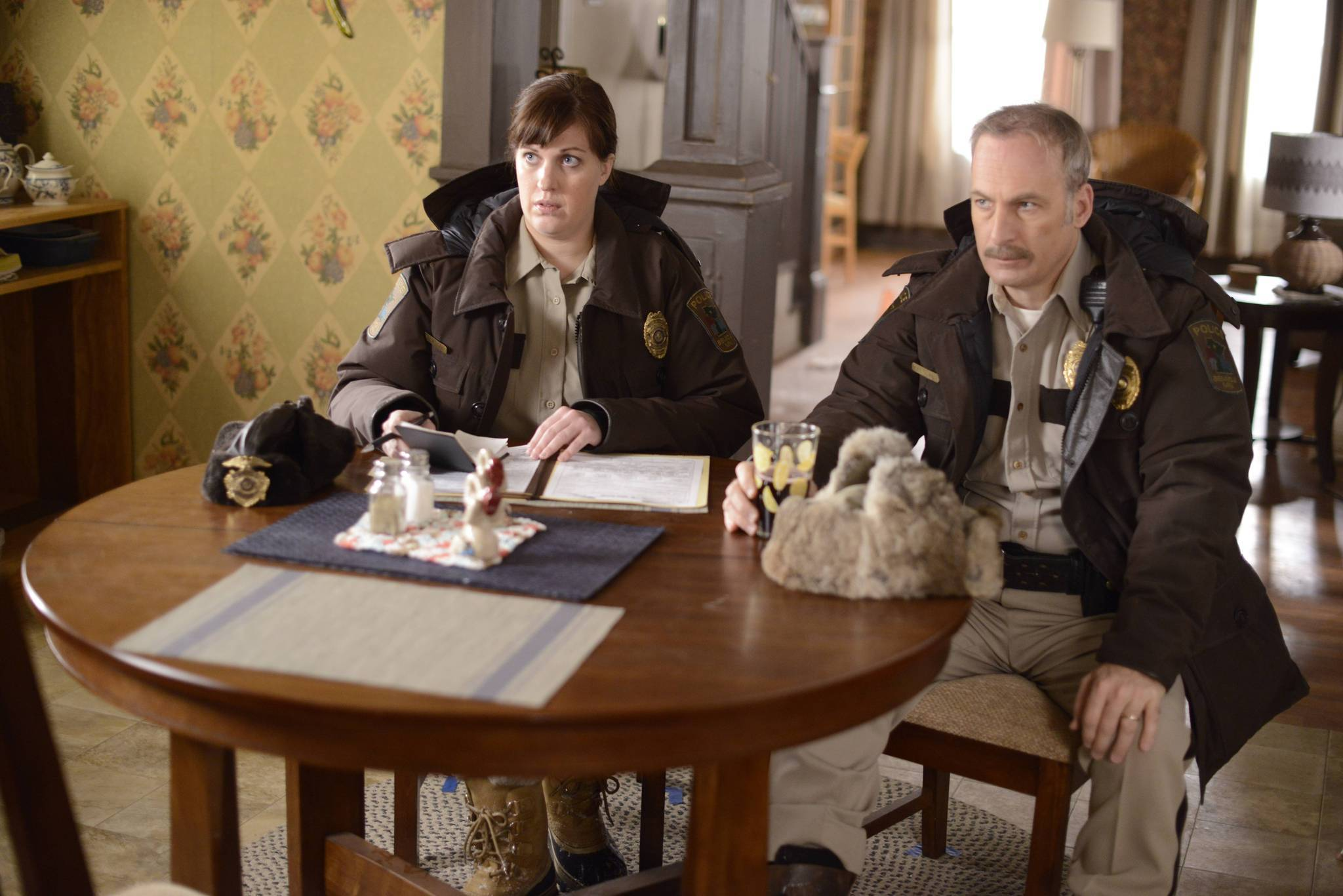 "Allison Tolman, left, and Bob Odenkirk in a scene from ""Fargo."""