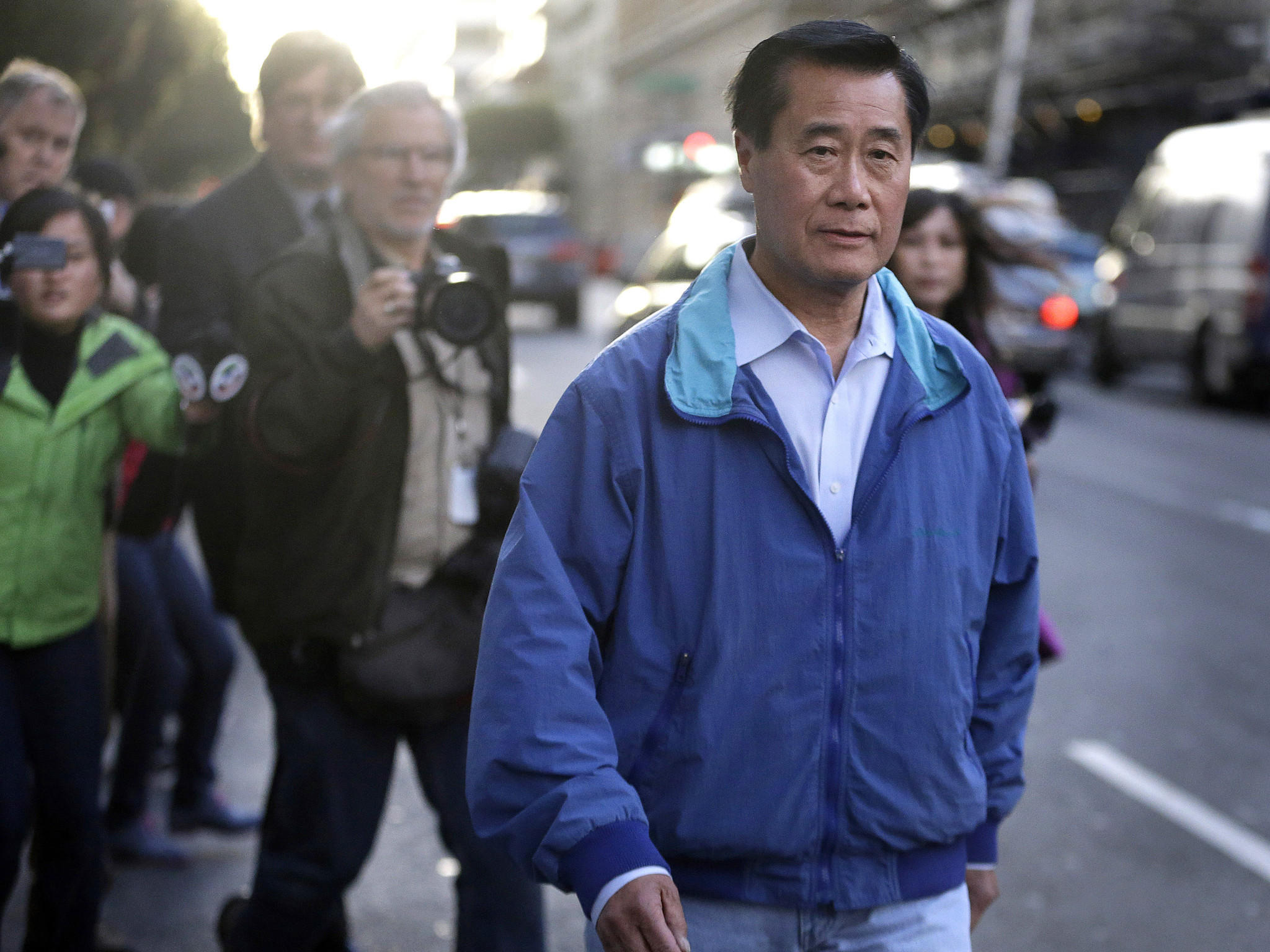 Sen. Leland Yee (D-San Francisco) leaves the Federal Building in San Francisco on March 26. A new poll has found that Yee's arrest has damaged the Legislature's approval ratings.