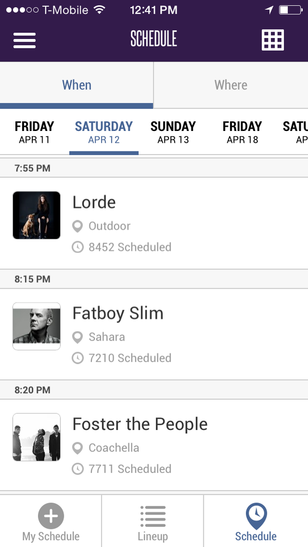A screen shot of the updated Coachella smart phone application displays which acts are buzzing.