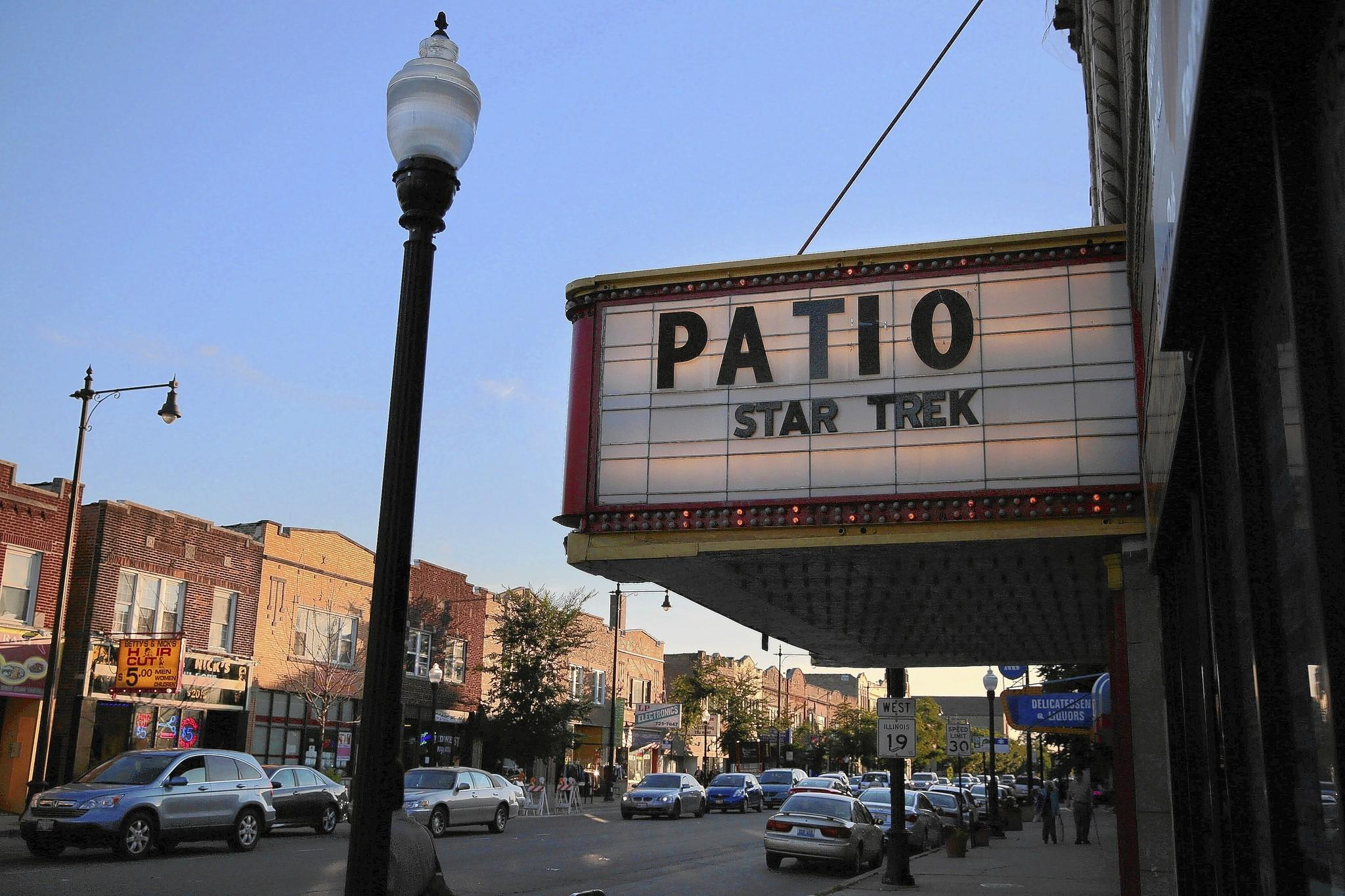 The marquee at Patio Theater.