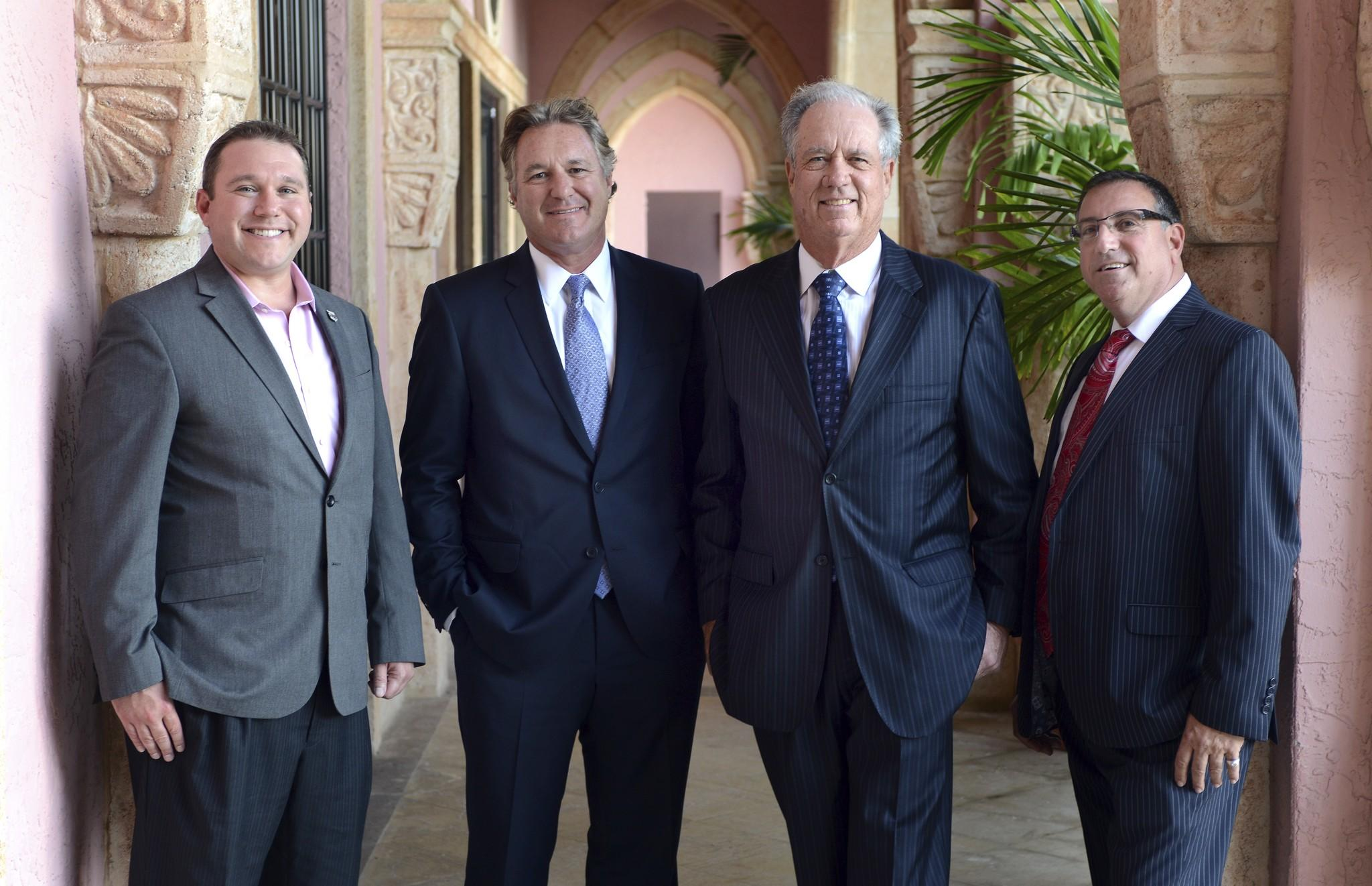 The 2013 Excalibur Award winners are, from left, Daniel Cane, CEO of Modernizing Medicine; Mark Bellissimo, CEO of Equestrian Sport Productions; Phil Smith, Chairman and CEO of Phil Smith Management; Bill Feinberg, president and CEO of Allied Kitchen & Bath.