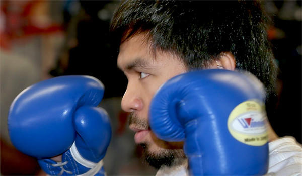 Manny Pacquiao works out at Wild Card Boxing Gym in Hollywood on April 2 ahead of his Saturday bout with World Boxing Organization welterweight champion Timothy Bradley at the MGM Grand in Las Vegas.
