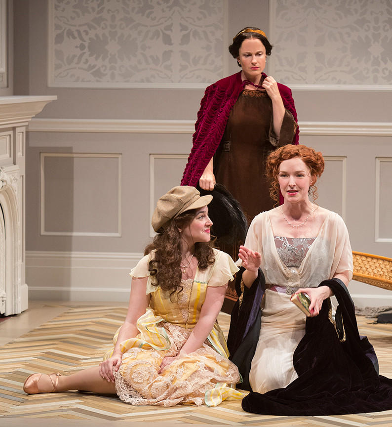 "Leanne Agmon, left, as Carol Conway, Morgan Hallett as Madge Conway and Amanda Quaid as Kay Conway in ""Time and the Conways"" by J.B. Priestley at the Old Globe."