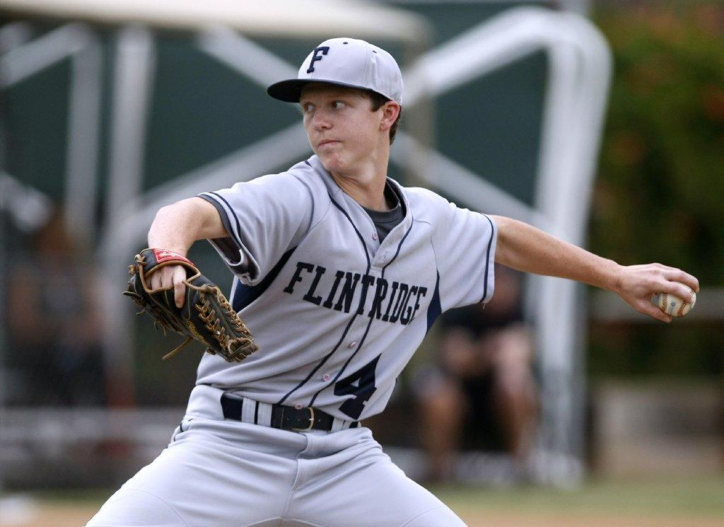 Flintridge Prep left-handed pitcher Daniel Enzminger tossed 144 pitches and nearly went the distance in a heart-breaking 10-9 loss at Pasadena Poly on Thursday. (Raul Roa/Staff Photographer)