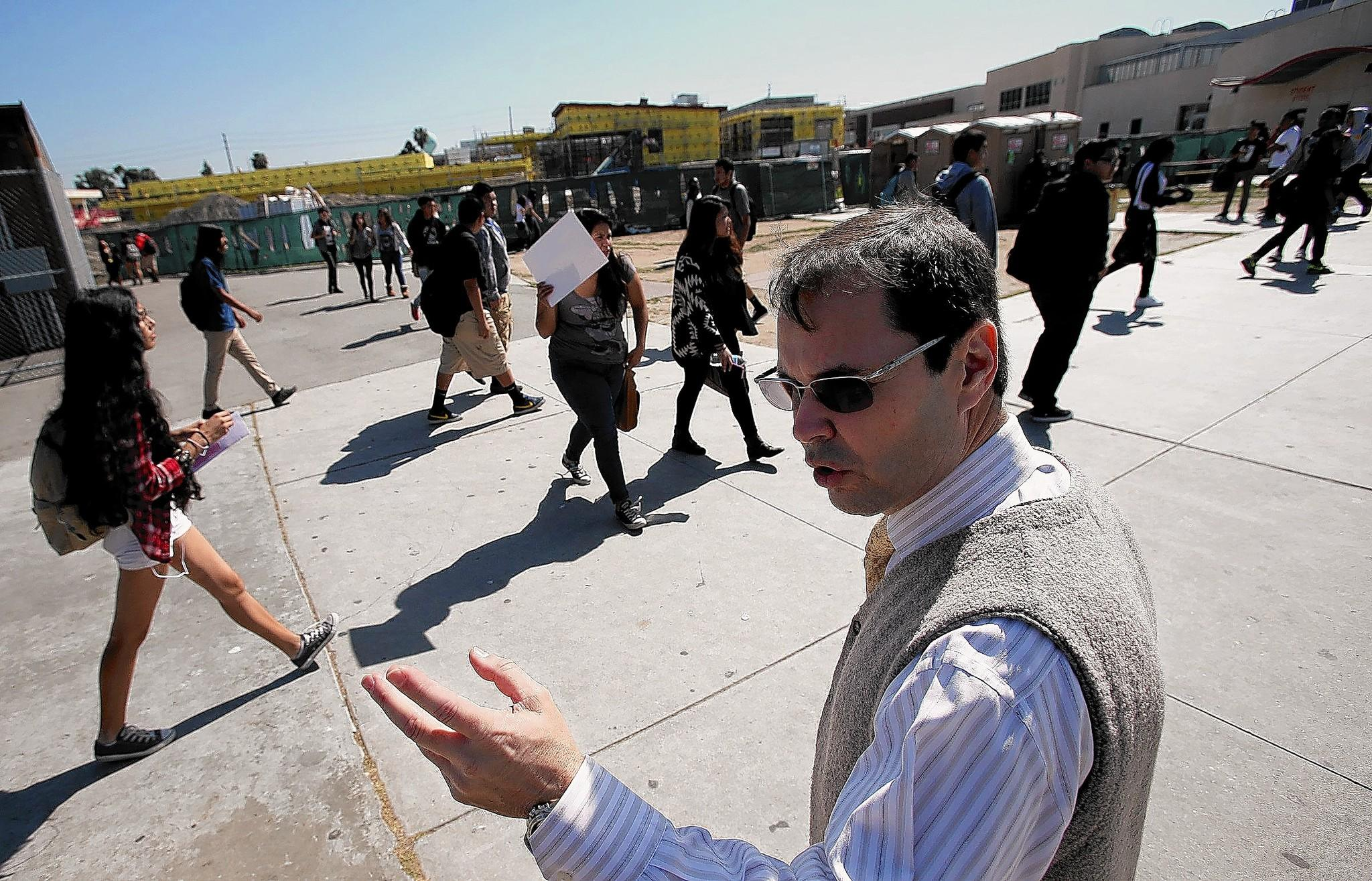Jose Fernandez, the superintendent of the Centinela Valley Union High School District, said he received the generous contract because he agreed to take control of the school system at a risky time. Above, Fernandez at Hawthorne High last month.