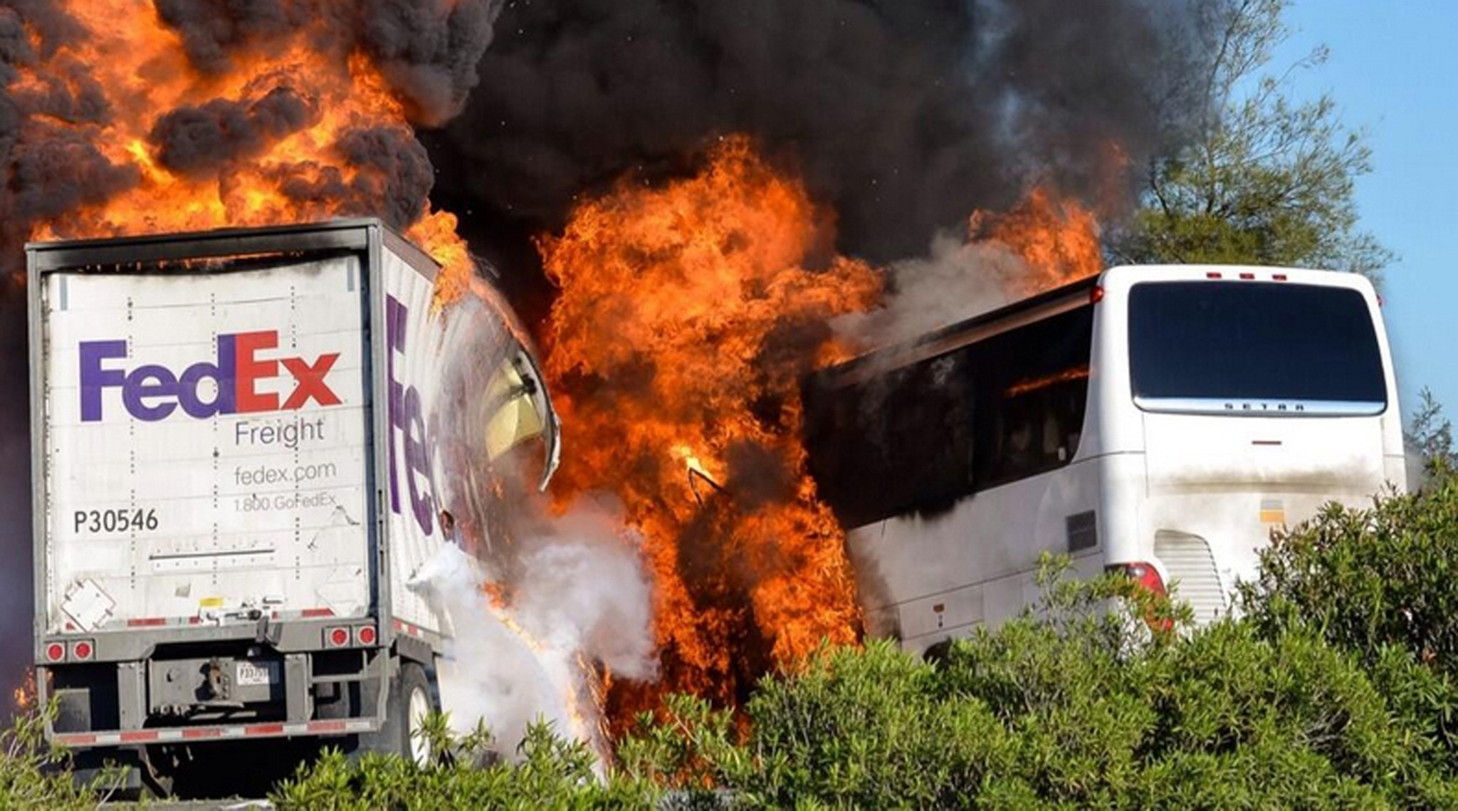 California bus crash: Report of fire in FedEx truck adds to mystery