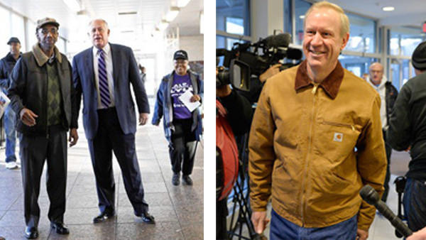 Left: Gov. Pat Quinn greets supporters with Rep. Bobby Rush to his right. Bruce Rauner meets supporters on the campaign trail.