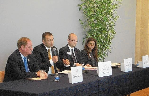 Speak Up Newport hosted candidates in the California Assembly District 74 race for a forum Wednesday night. From left to right: Keith Curry, Emanuel Patrascu, Matthew Harper and Anila Ali.