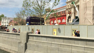 Universal Studios: Knight Bus parked inside Potter construction wall