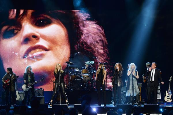 Carrie Underwood, third from left,  Sheryl Crow, Bonnie Raitt, Emmylou Harris and Glenn Frey perform.