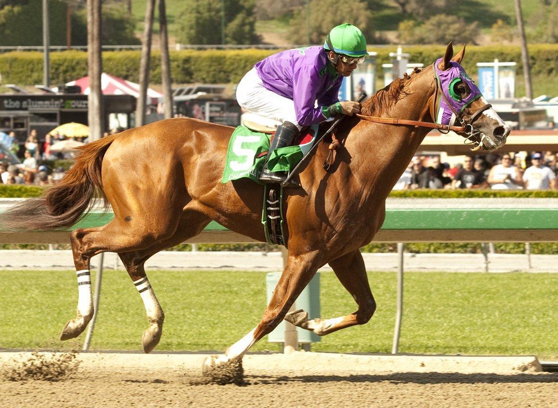 California Chrome and Victor Espinoza win the Santa Anita Derby in Arcadia.