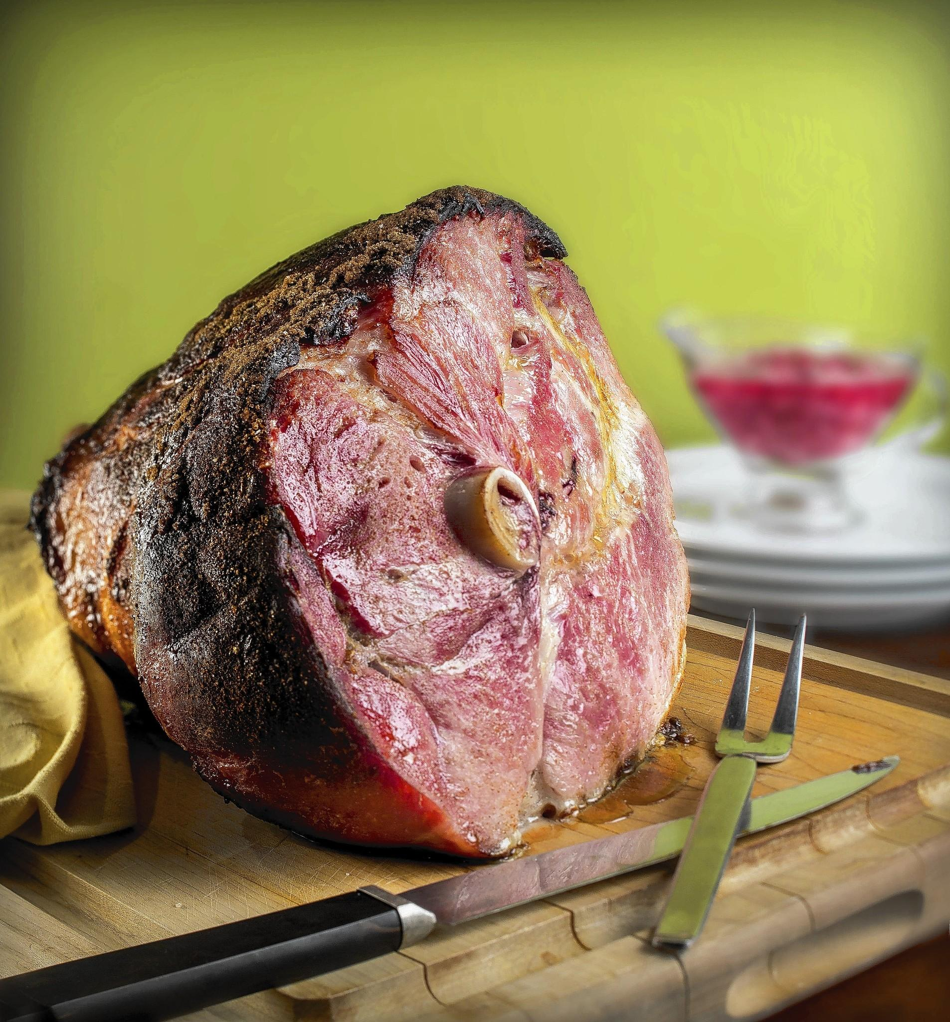 Finished Easter ham recipe.