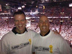 Broward County Commissioner Marty Kiar (left) and state Sen. Joe Abruzzo of Palm Beach County attending game 2 of the NBA Finals in Miami on June 9, 2013. They were roommates in Tallahassee when both served in the Florida House of Representatives. Kiar posted the photo on his Facebook page.