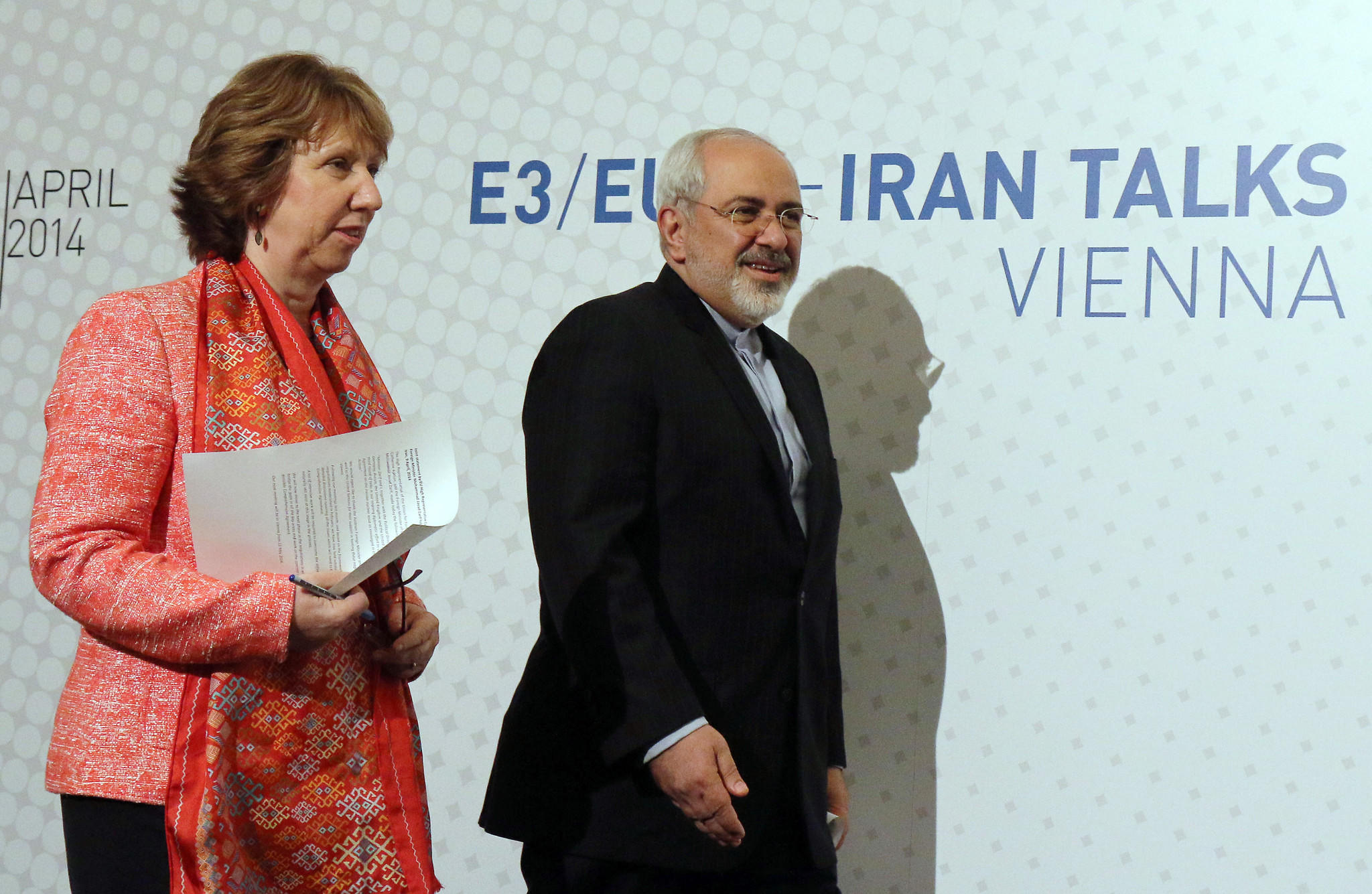 European Union foreign policy chief Catherine Ashton and Iranian Foreign Minister Mohammad Javad Zarif arrive to address the media after closed-door nuclear talks in Vienna this week.
