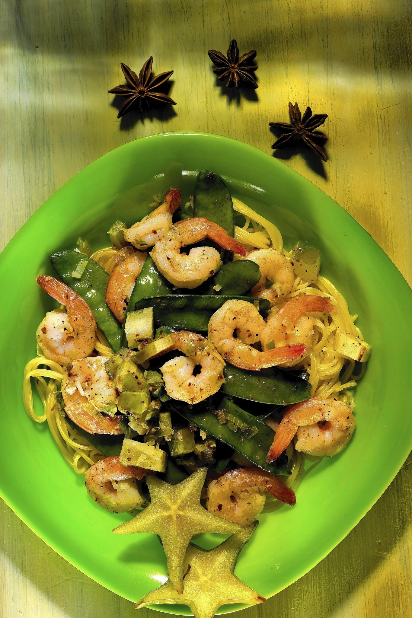 Finished star-struck shrimp with angel hair recipe.