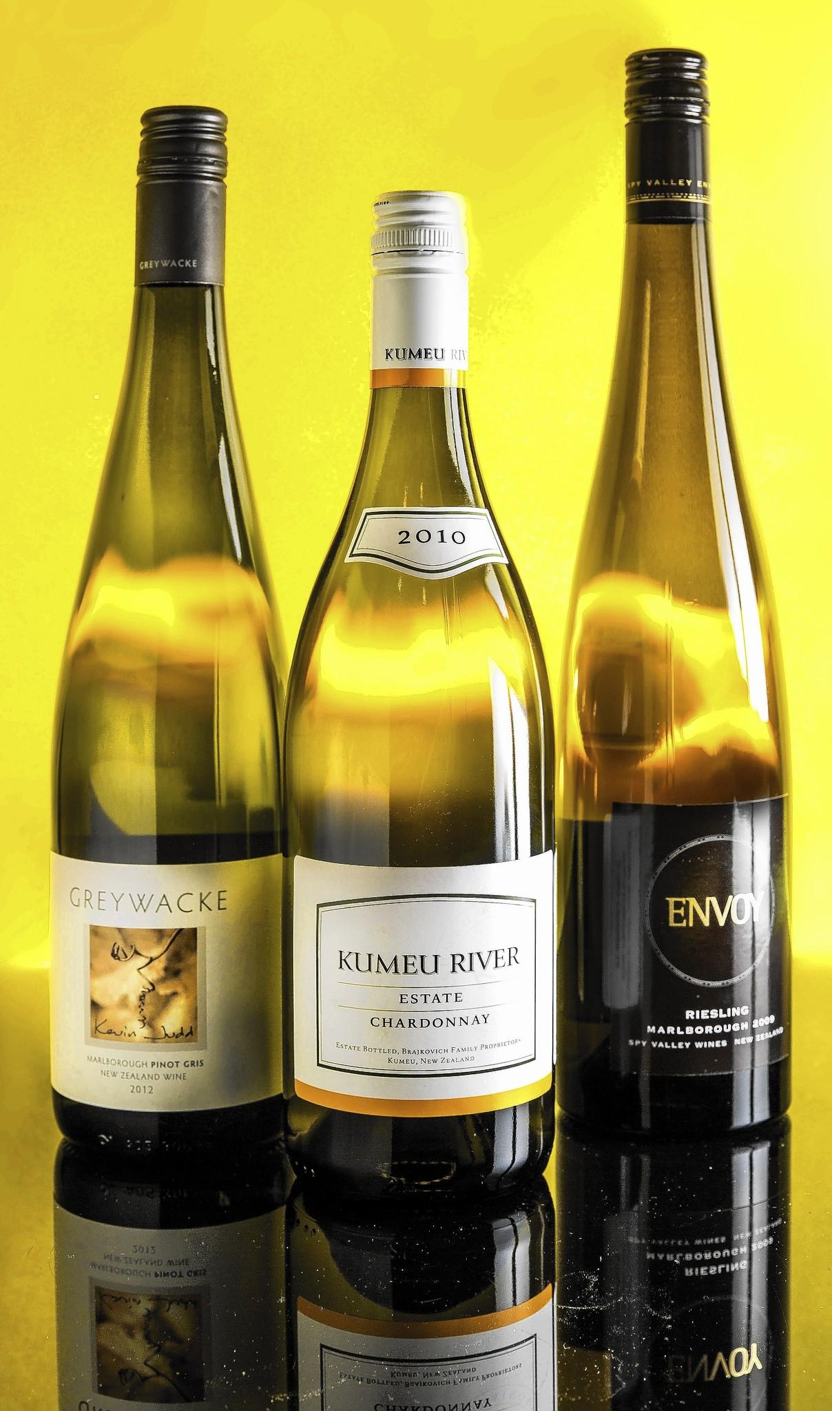 Envoy Riesling, Kumeu River Chardonnay, and Grey Wacke Pinot Gris.
