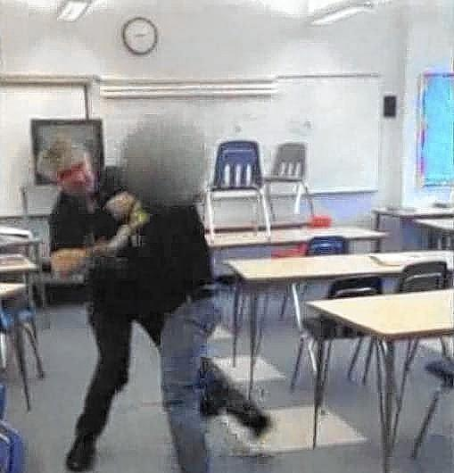 A cellphone video of Santa Monica High School teacher Mark Black restraining a student in his classroom went viral.