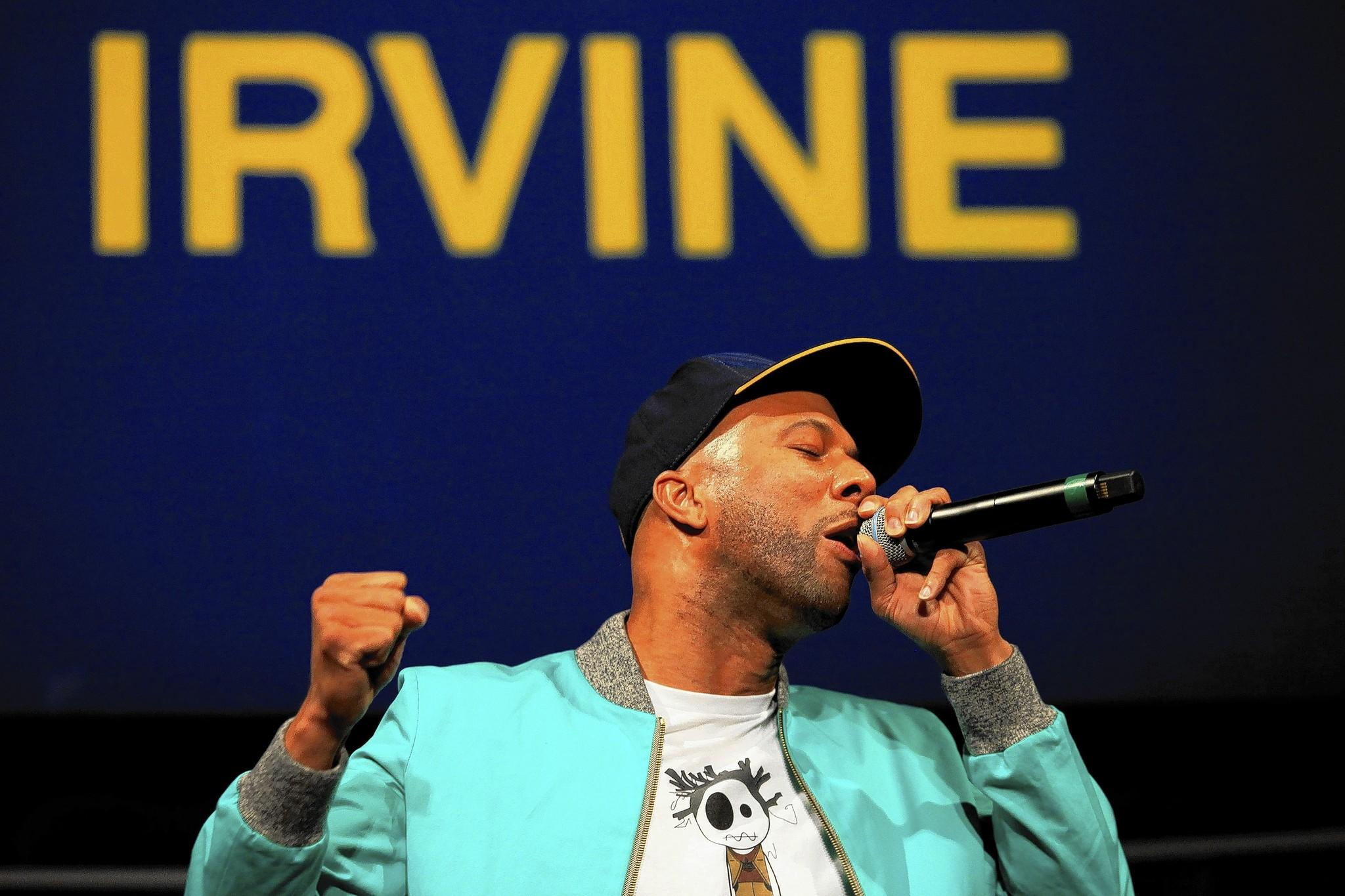 Common, Grammy Award-winning musician and actor, freestyles during New Narratives: Conversations on Identities & Culture at UC Irvine's Bren Events Center on Thursday.