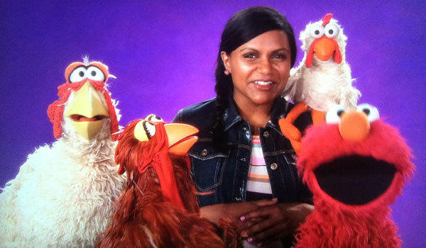 "Mindy Kaling films with the cast of ""Sesame Street."""