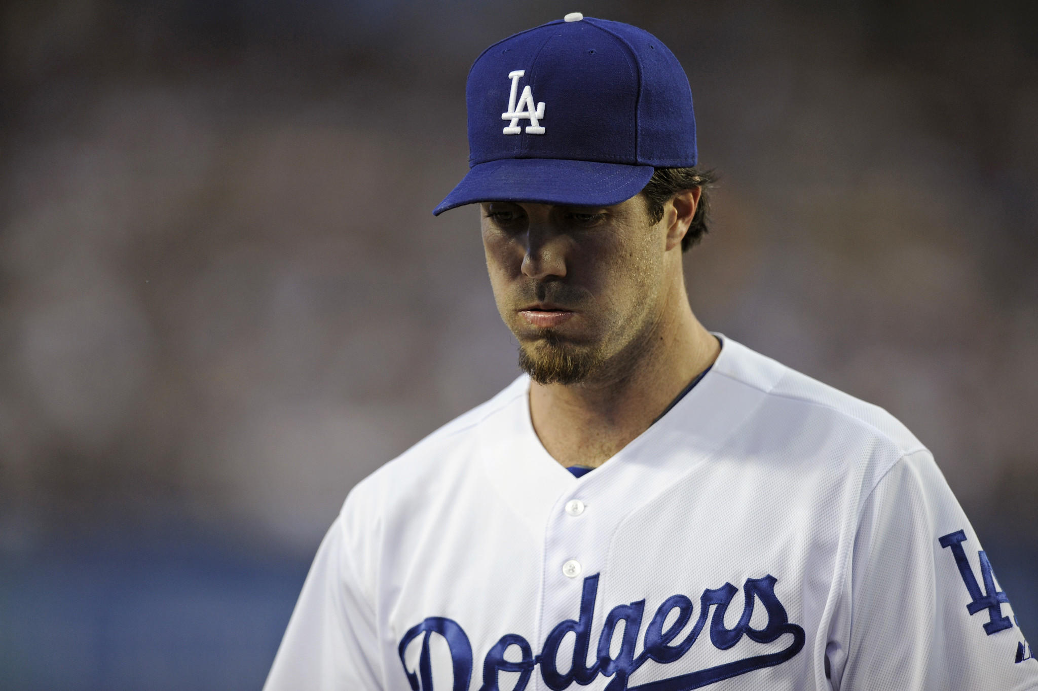 Los Angeles Dodgers starting pitcher Dan Haren is seen during Tuesday's game against the Tigers, which aired on SportsNet LA, distributed by Time Warner Cable. Negotiations with DirecTV over the channel have been contentious.