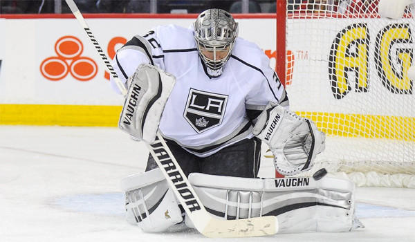 Jonathan Quick is in a race with the Boston Bruins for the William M. Jennings trophy, awarded to the goalkeepers who have played at least 25 games and allowed the fewest number of goals.
