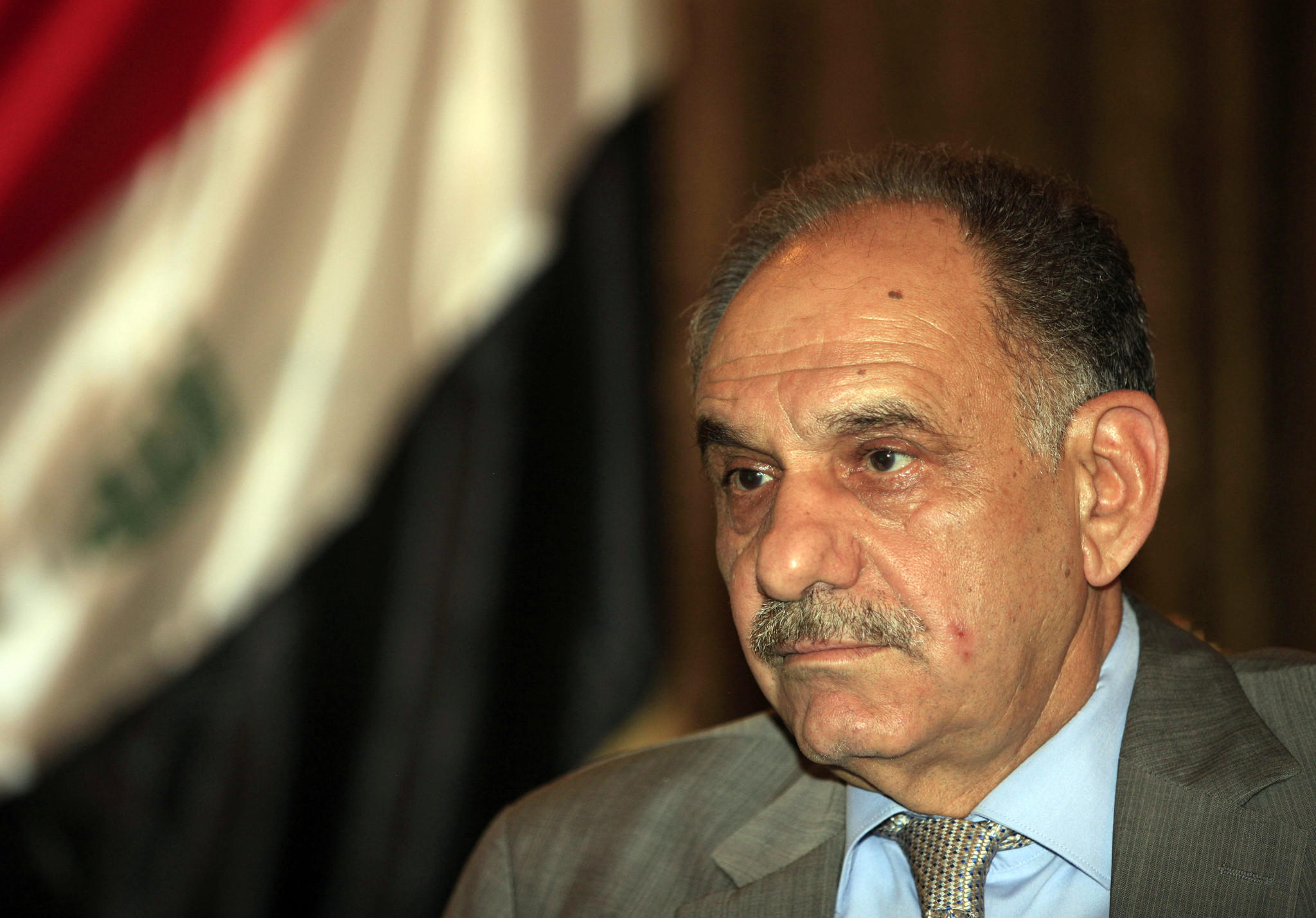 In this May 2013 file photo, Iraqi Deputy Prime Minister Saleh Mutlaq gives an interview to the Associated Press in Baghdad.