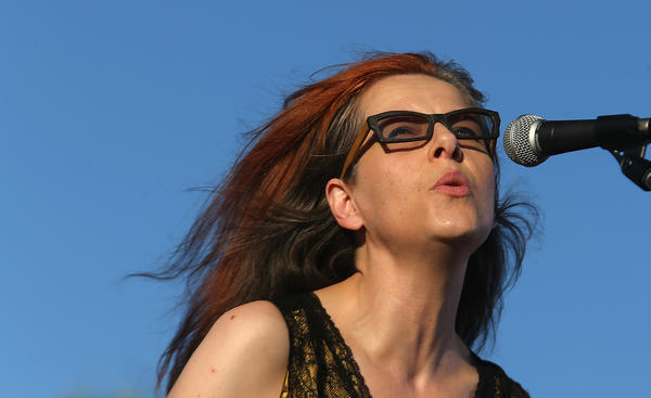 Neko Case on stage at the Coachella Valley Music and Arts Festival.