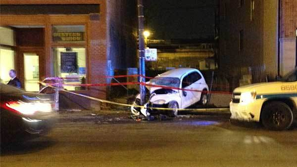 The scene of the crash in the 1600 block of West Grand Avenue.