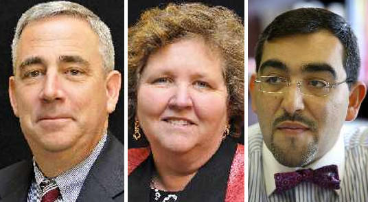 From left, George Arlotto, Maureen McMahon and Francisco Duran, all finalists for the job of Anne Arundel County Public Schools superintendent.