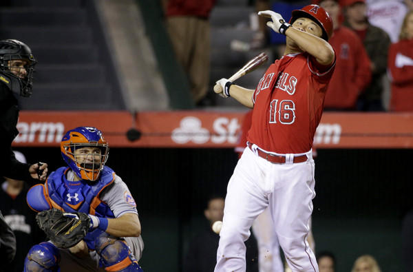 Angels catcher Hank Conger is hit by a pitch with the bases loaded to bring home the winning run against the Mets on Friday night.