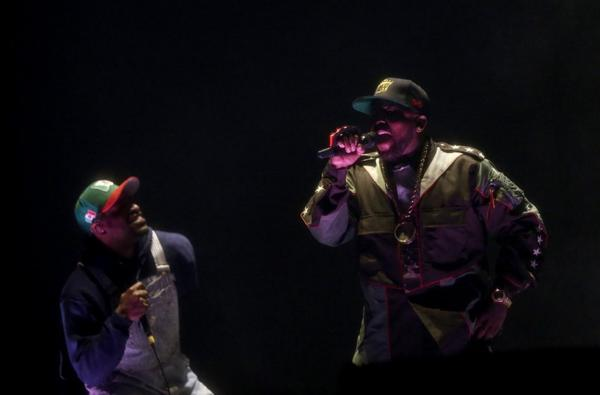 Andre 3000, left, and Big Boi of Outkast perform during Day 1 of the 2014 Coachella Valley Music & Arts Festival at the Empire Polo Club on Friday.