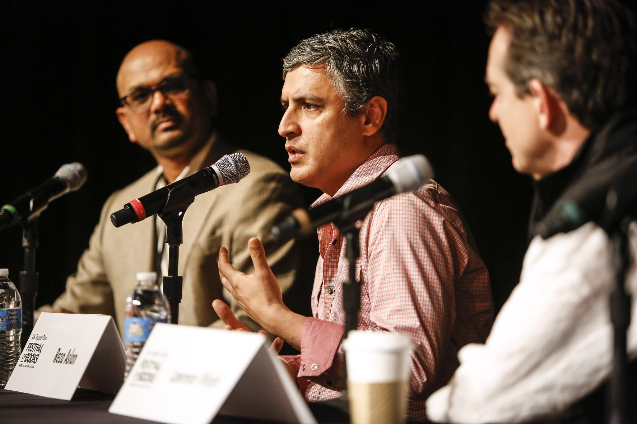 Times Editor-in-Chief Davan Maharaj, left, with authors Reza Aslan and Lawrence Wright.