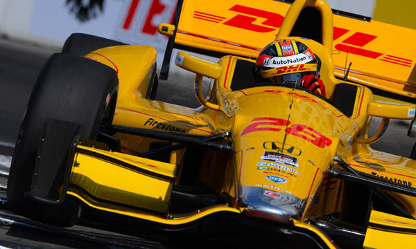 Ryan Hunter-Reay takes part in a practice run Saturday for Sunday's Toyota Grand Prix of Long Beach. Hunter-Reay will start the race from pole position.