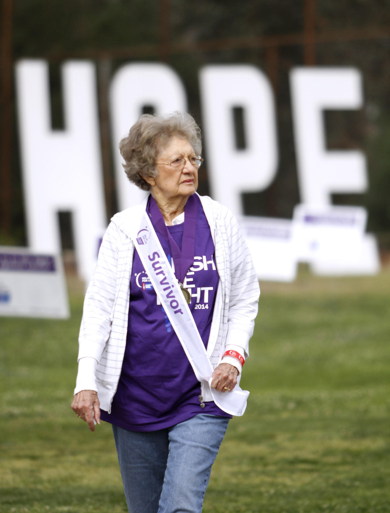 Cancer survivor Jan Stanton, 87 of La Cañada Flintridge and a 17-yr. breast cancer survivor, participates in the 14th annual Foothills Relay for Life at Clark Magnet High School in La Crescenta on Saturday, April 12, 2014.