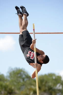 Edgewater's Carlos Guillermo wins the Boys Pole Vault during the Brian Jaeger Elite Classic in Winter Park, Fla., Saturday, April 12, 2014.