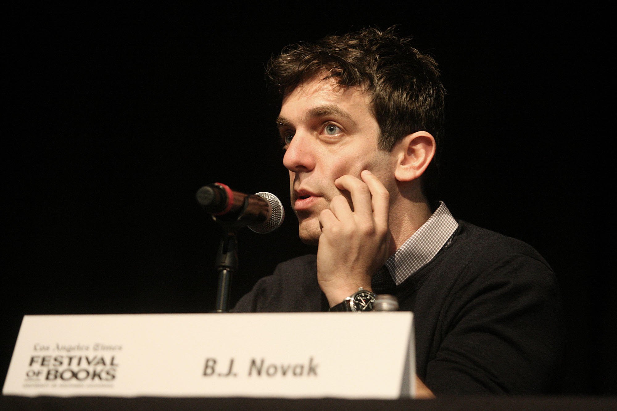 """Part of a journey I think I'm still on is realizing how much of your own voice is your writing, and I think a lot of writers, including myself, start out in a much stiffer voice,"" B.J. Novak said Saturday at the Festival of Books."