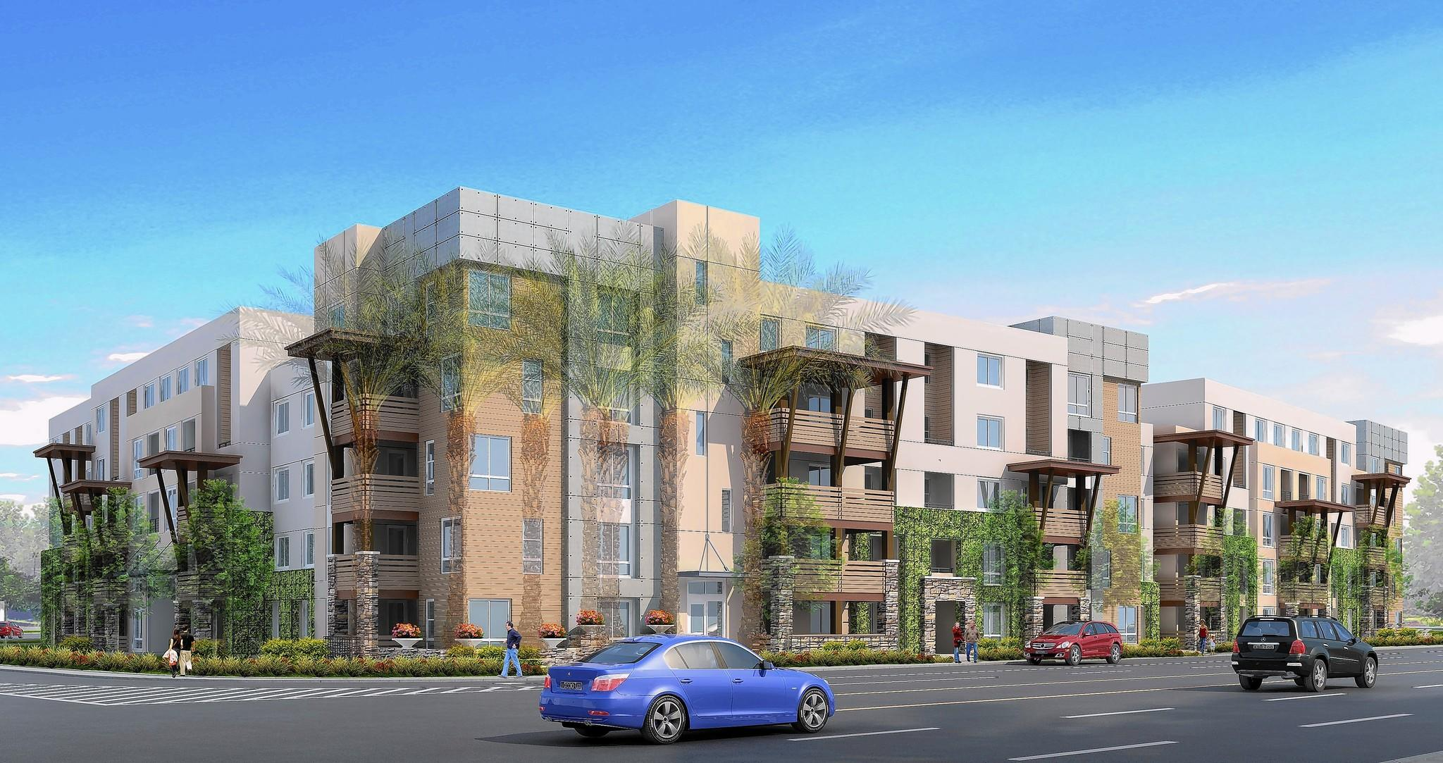 Pictured is a conceptual drawing of a proposed 240-unit apartment complex at 125 E. Baker St., Costa Mesa, that would replace a 1970s-era office building.