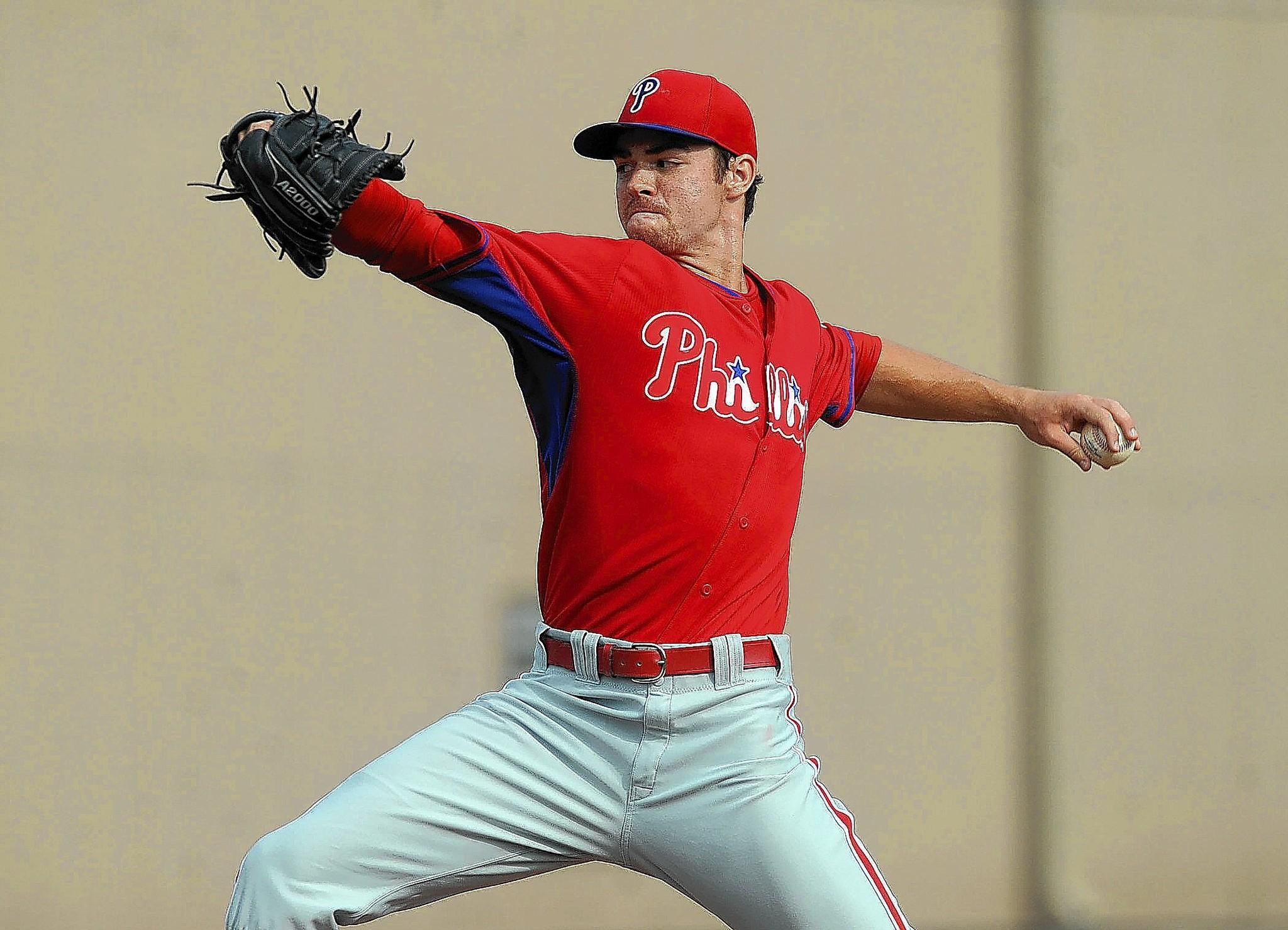 Philadelphia Phillies minor league pitcher Jesse Biddle delivers a pitch during an inner squad baseball scrimmage at the Carpenter Complex in Clearwater, Fl., Monday, March 24, 2014.