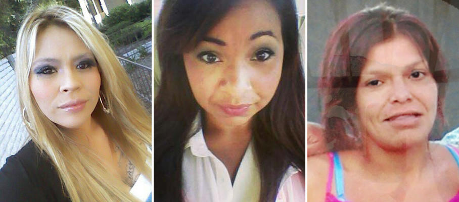 Anaheim police arrested two men Friday on suspicion of murder in the disappearance of three women in Santa Ana, from left, Martha Anaya, Kianna Jackson and Monique Vargas.