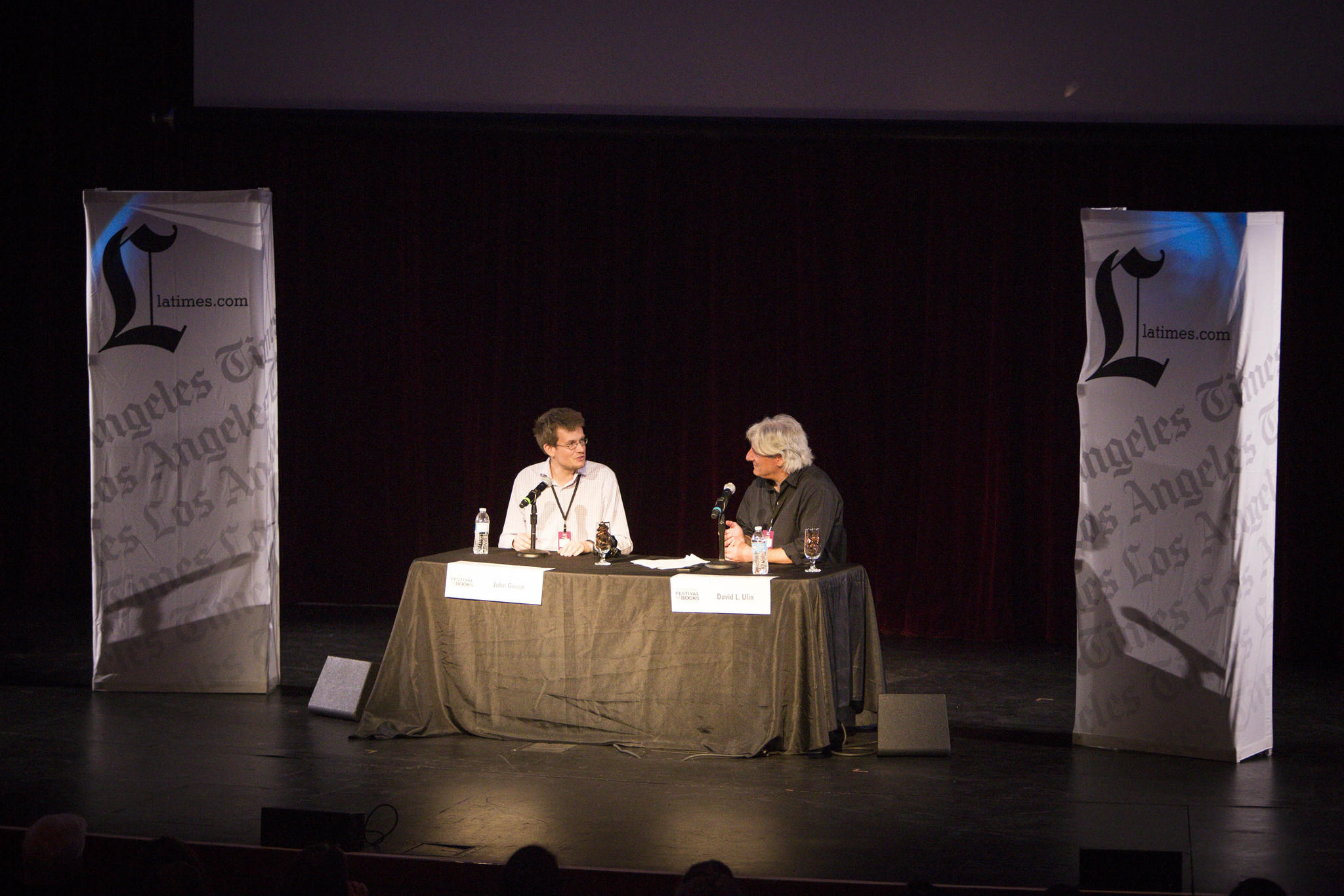 Author John Green, left, speaks with Times book critic David Ulin during the Los Angeles Times Festival of Books.