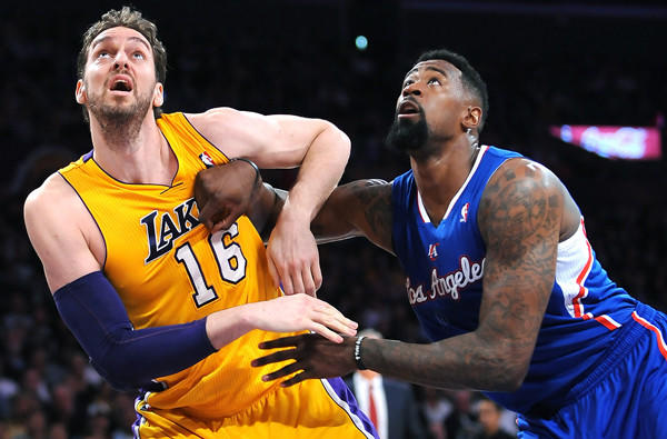 Lakers power forward Pau Gasol battles for position with Clippers center DeAndre Jordan during a game last month.