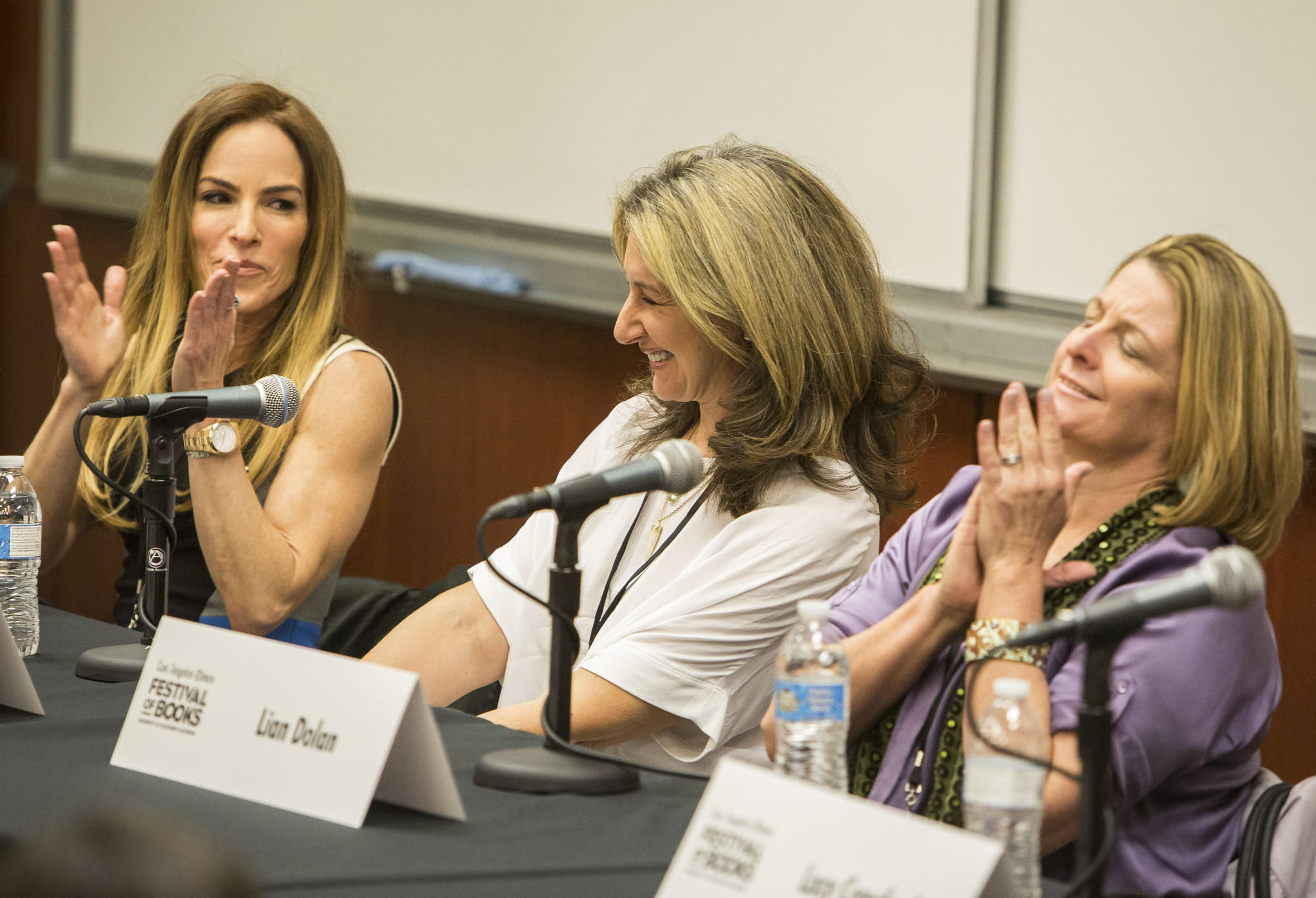 """From left, Gigi Levangie, Jane Green and Lian Dolan take part in the """"Fiction: Choices and Consequences"""" panel the Los Angeles Times Festival of Books."""